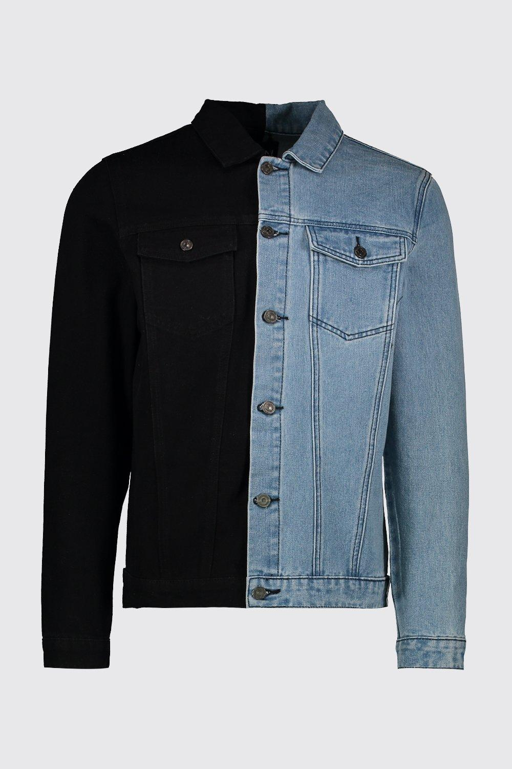 2020 Men Custom Black Denim Jacket With Contrast Detaild And Outerwear Jeans Coat
