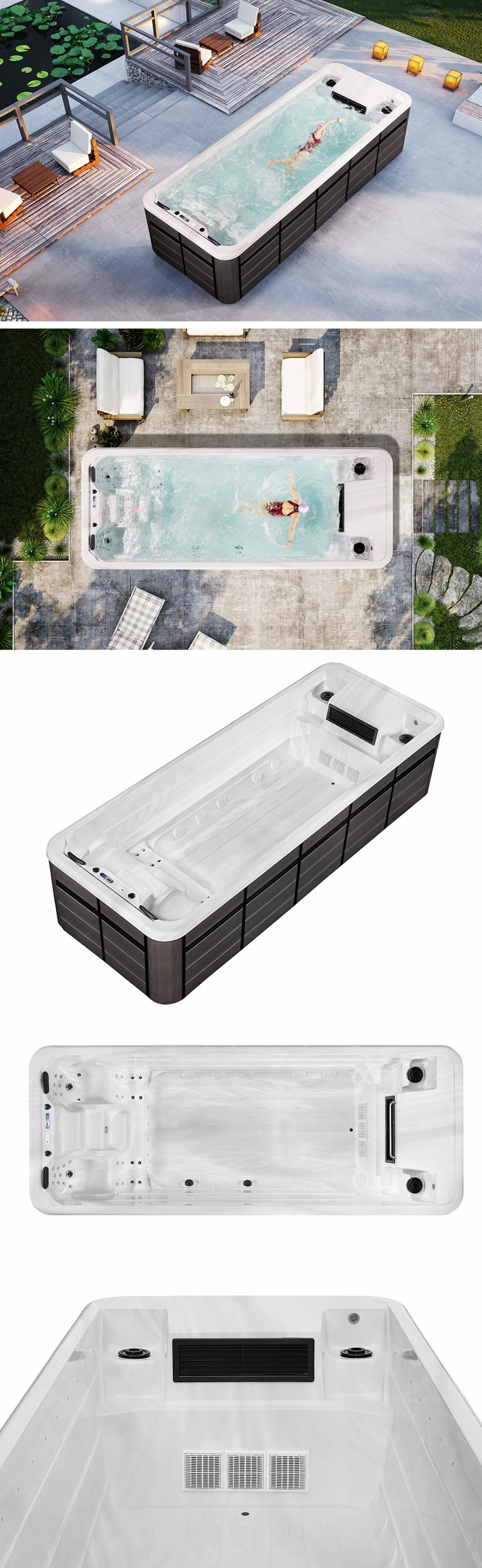 outdoor endless pool spa/ clear acrylic swimming pool hot tub combo