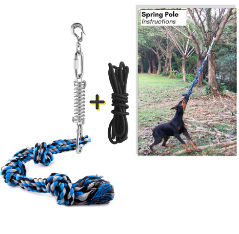 Pet Durable Stainless Steel Spring Pole Dog Rope Toys Hanging Exercise Rope Pull Dog Training with 5M Black Ropes