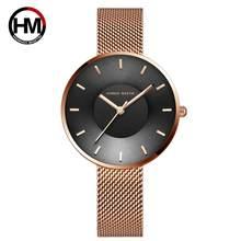 Японские кварцевые часы MIYOTA 2035, простой дизайн, роскошный подарок, нержавеющая сталь, с изогнутым лицом, синий, розовое золото, часы для женщ...(Китай)