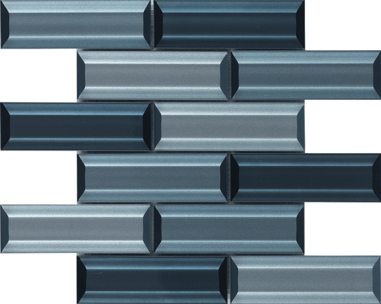 "backsplash mosaic Blue Beveled Glass Mosaic 2""x6"" 3D With high quality crystal mosaic"