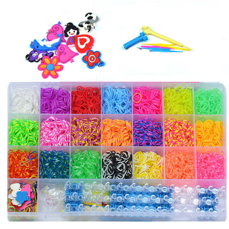 4400pcs Set DIY Stricken Weben Armband Regenbogen Gummiband Webstuhl Kit
