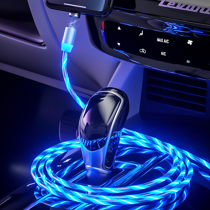 Wholesale Magnetic Fast Charging Type C USB Cables Flowing Light Phone Cable USB Led Luminous USB C Charging Cables