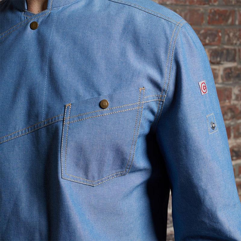 CHECKEDOUT Fashion Restaurant and Hotel uniform Long Sleeve Jacket Uniform Denim Chef Coat