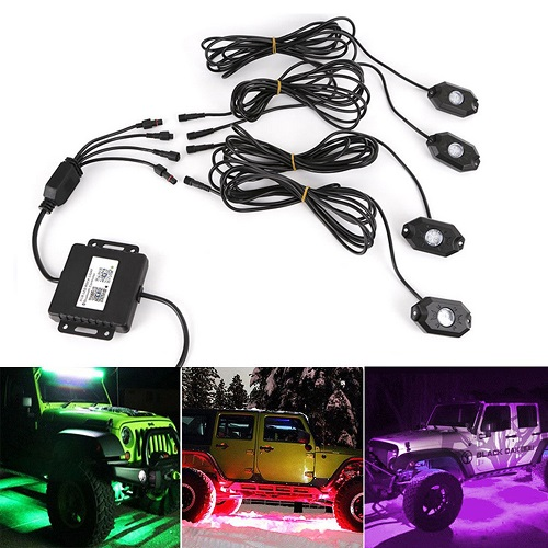 RGB 4pods Bluetooth Control & Cell Phone Control LED Rock Light Kits
