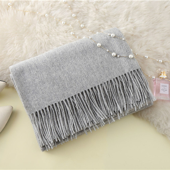 Scarf pashmina big luxury wool long solid color 100% cashmere scarf women