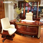 Home 6881 luxury leather Oval desk ,With drawer L shaped office furniture desks and chair wholesale