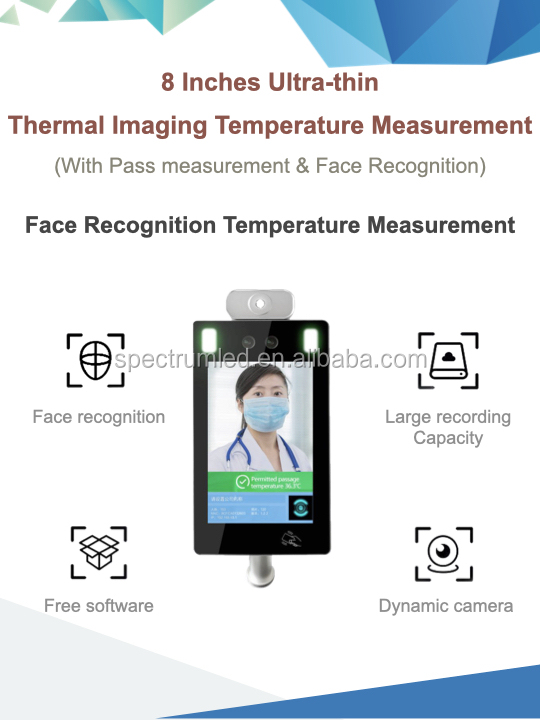 Face recognition turnstile gate temperature terminal body temperature measure scanner with attendance data