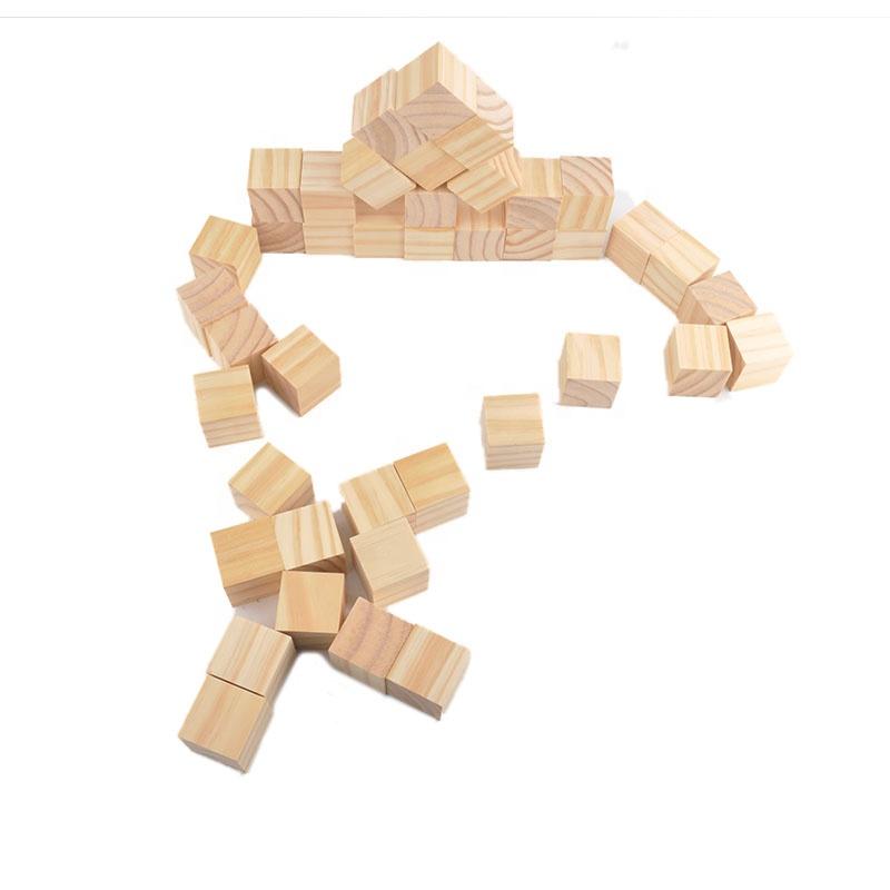 Wooden Building Block 100pcs Square Beech Blocks Set wood geometric cube Wood Square Blocks