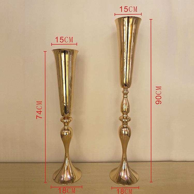 Metal Fiberglass Trumpet Popular Vase Table Centerpiece Flower Holder Wedding Envents Vase
