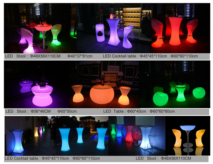 Chinese colorfRohs wedding mesas table nightclub illuminated furniture plastic led bar counter