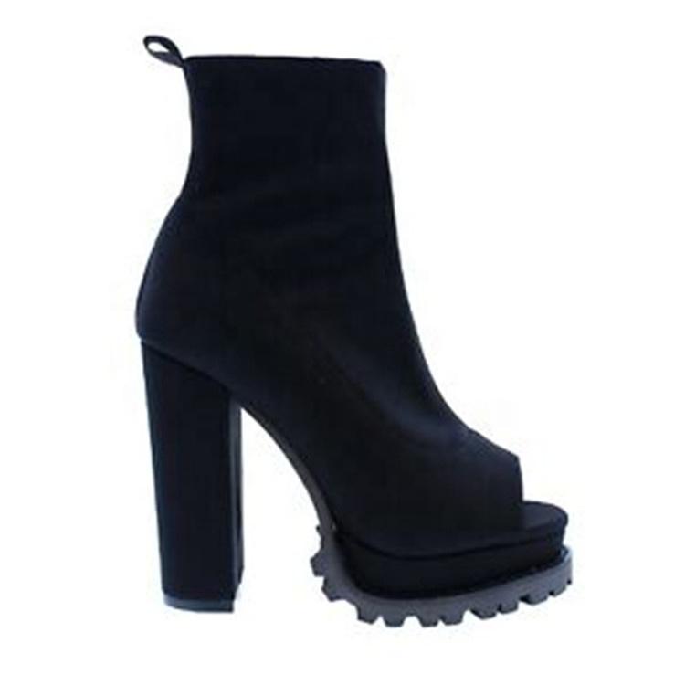 2020 Women Snake Python Skin Ankle Booties Platform Lug Sole Chunky High Heel Open Toe Booties