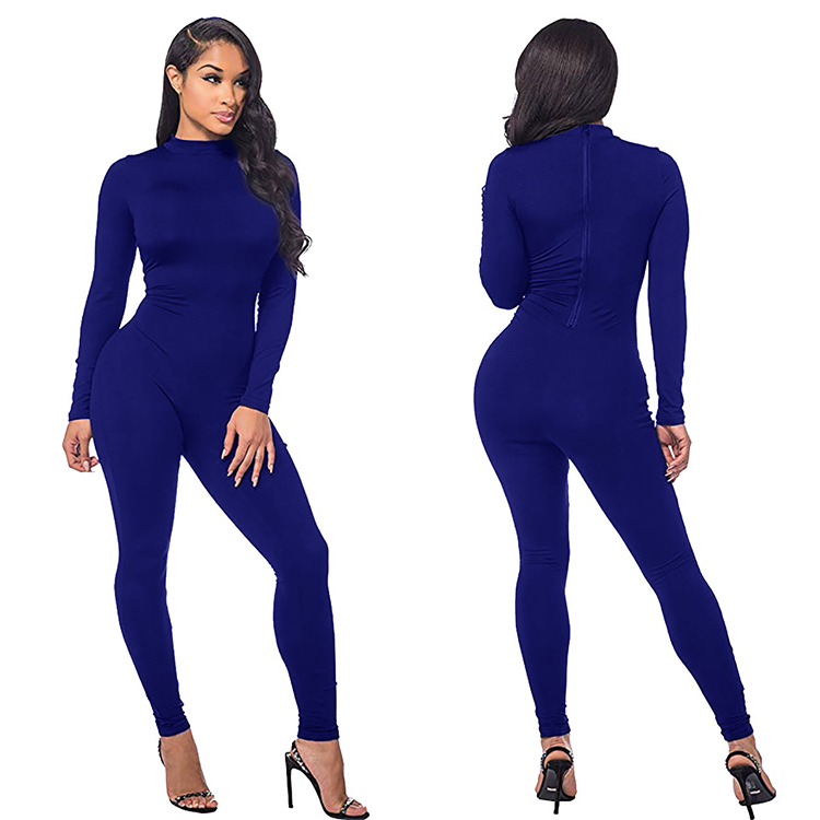 9121014 new arrival solid long sleeve solid color plain back zipper slimming one piece bodycon women jumpsuits rompers