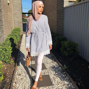 Hijab Dresses Long Shirt With Lace Lace-up Popular Muslim Fresh Stripe Long Sleeve Tops For Muslim Women