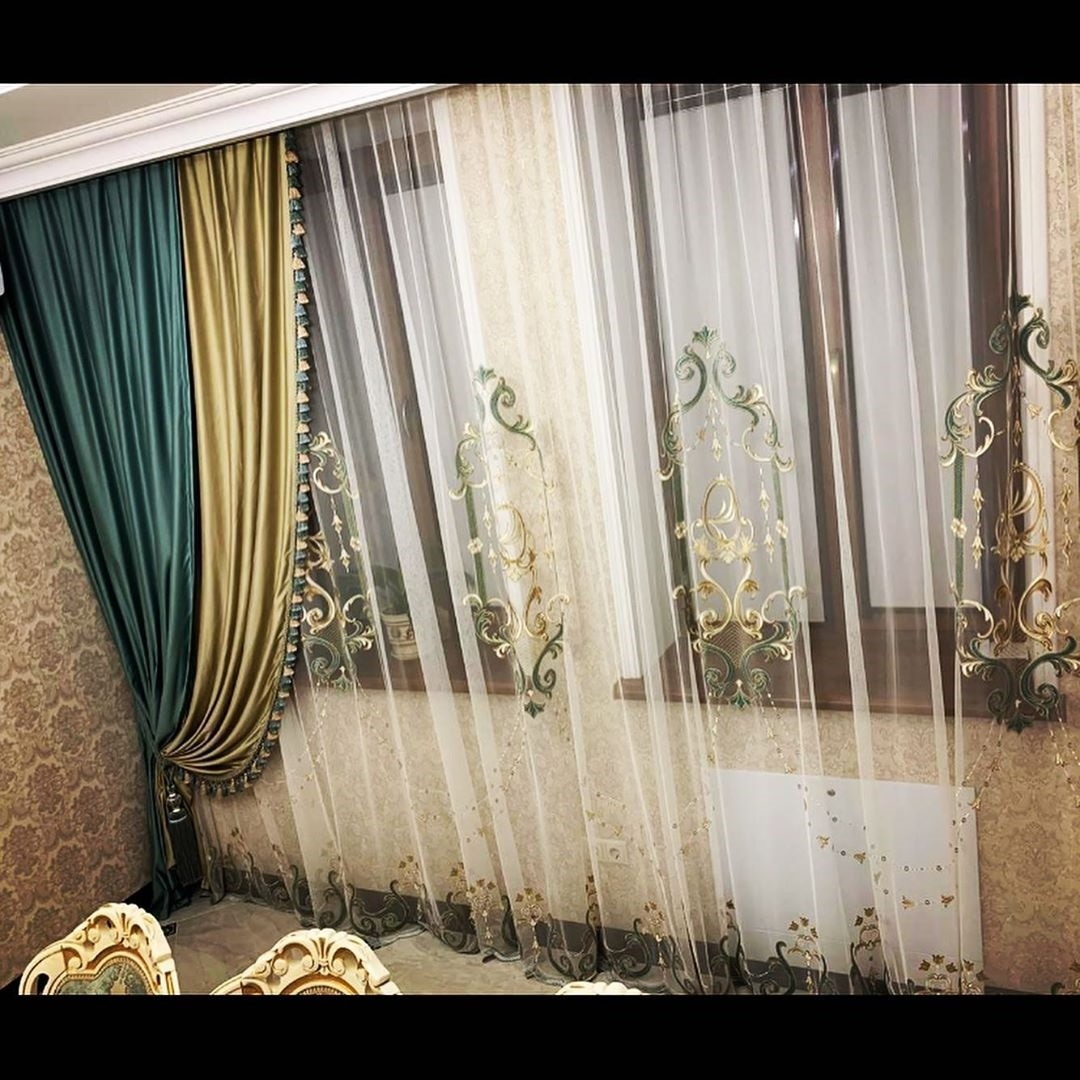 China luxury turkish embroidered sheer curtains