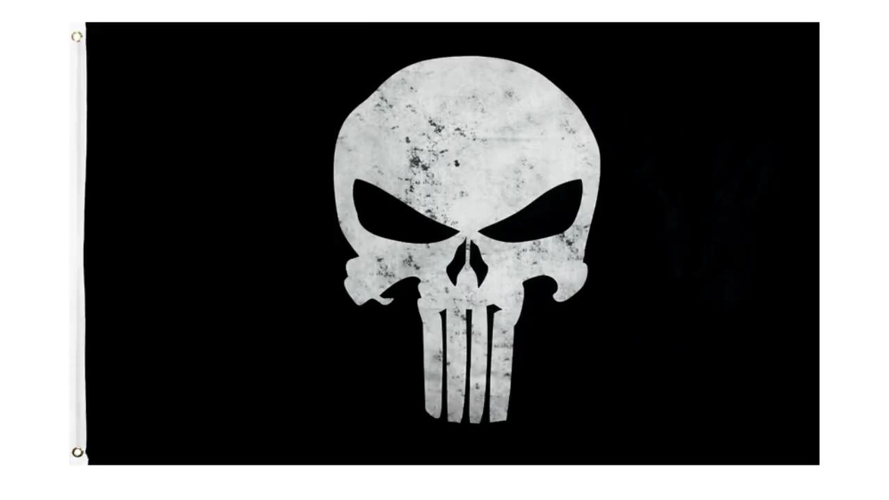 En gros 100% Polyester 3x5ft Stock Imprimé Noir Blanc Punisher Crâne Drapeau