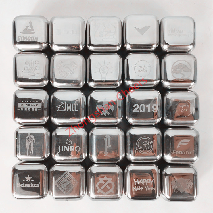 Cube Shape Reusable Stainless Steel Whiskey Stones Ice Cubes Chilling Stones with Tongs and Storage Box, Pack of 8