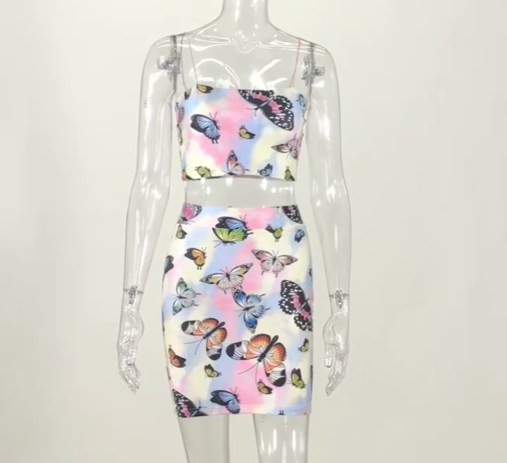 Jupe nouvelle collection mode femme 2020, jupe teinture par nouage, bretelles Spaghetti, sans bretelles, imprimé papillon, Sexy, ensemble deux pièces, vêtements pour femmes