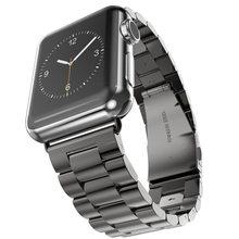 Для Apple Watch Series 6 5 4 3 2 ремешок 40 мм 44 мм 42 мм черный браслет из нержавеющей стали адаптер для iWatch Band 4 3 38 мм(Китай)