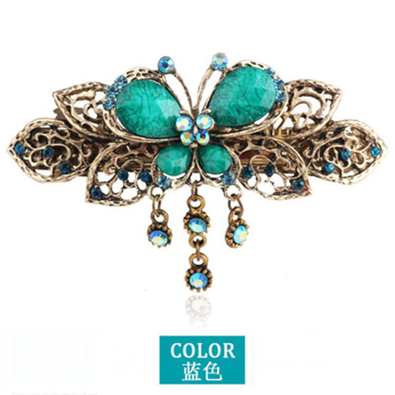 Bohemians Vintage Butterfly Crystal Hair Clip Classical Exquisite Hairpin