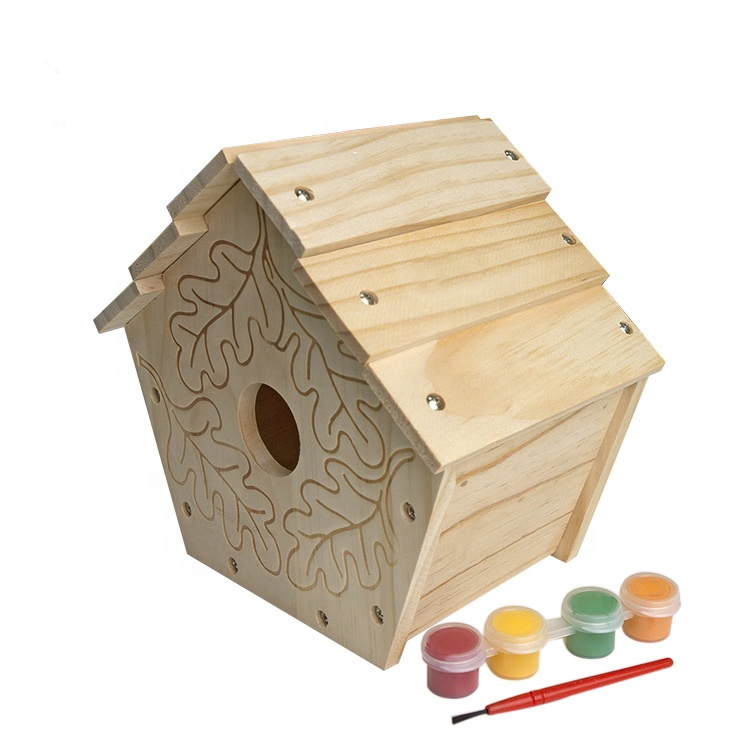 Excellent Quality New Unfinished Wooden Bird House Garden Birds Nest Decoration