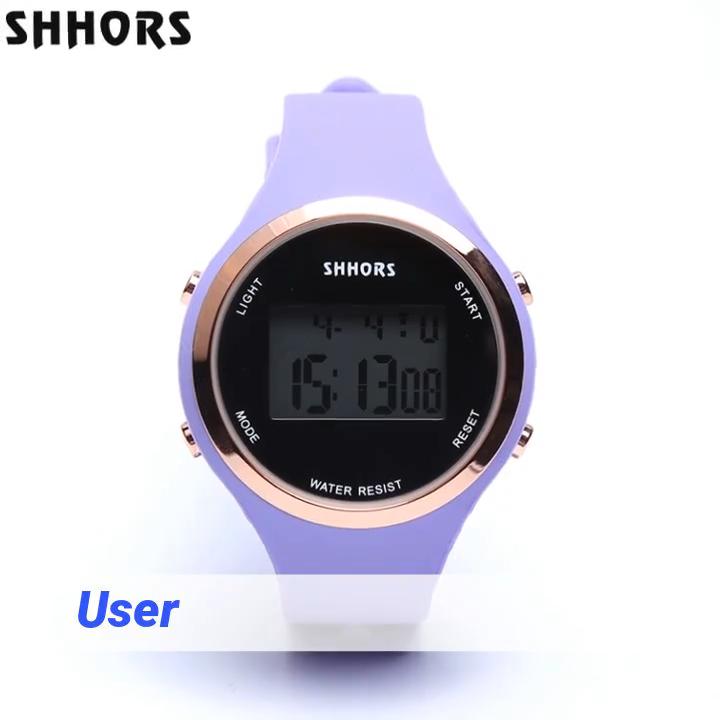 Shhors automatique nouvelle mode montre numérique alarme chronographe 3ATM étanche montre-bracelet 0272
