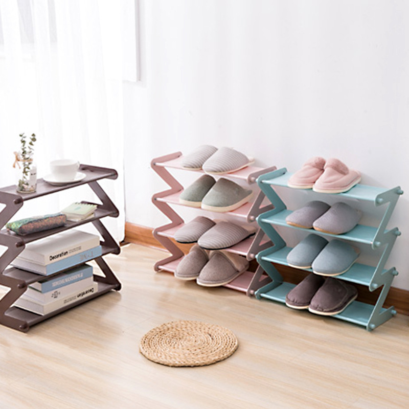 Stainless Steel Plastic Shoe Rack organizer Save Space Home Dormitory Foldable Multi-Layer Storage