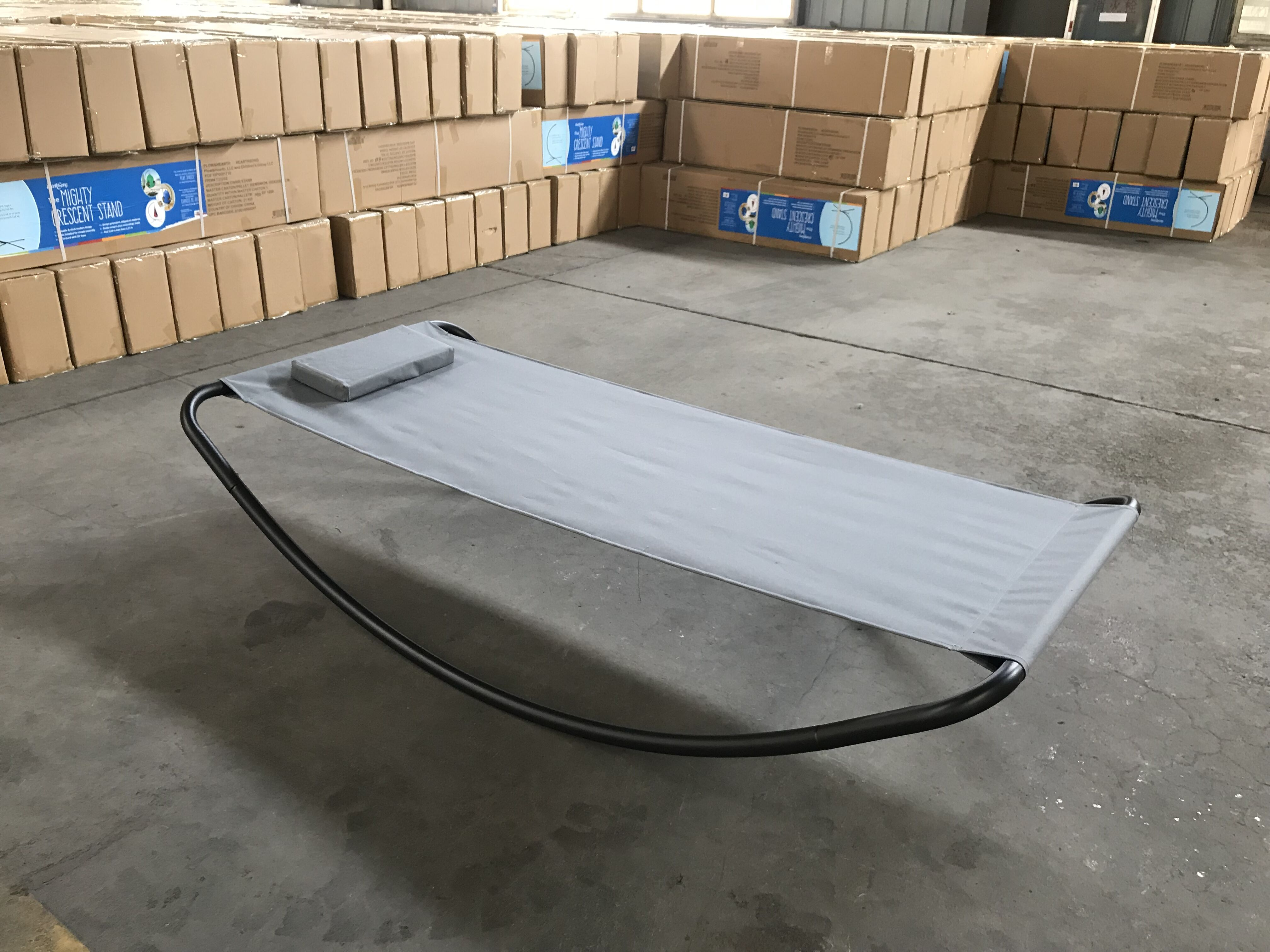 Patio Outdoor Portable Double Chaise Lounge Hammock Bed with Sun Shade and Wheels