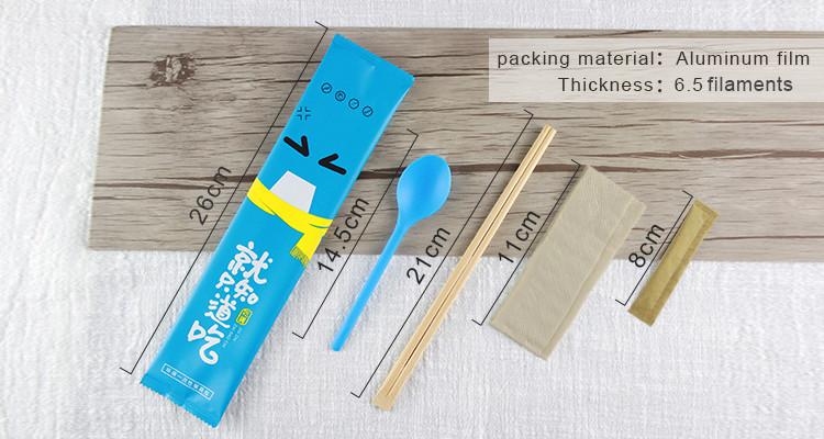Disposable bamboo tweezer chopsticks custom brand cutlery packaging spoon napkin cutlery wrapped Pearly membrane