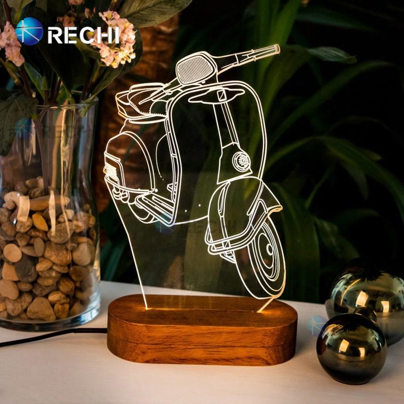 RECHI Customize Acrylic Led Night Light Sign/Acrylic Light Sign With LED Wood Base/Led Acrylic Name Edge Light Up Sign