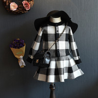 2019 Fashion Toddler Cardigan Clothing Set for Autumn Winter Baby Girls Plaid Knitted Sweater Top+Skirt 2 Piece Clothing Sets