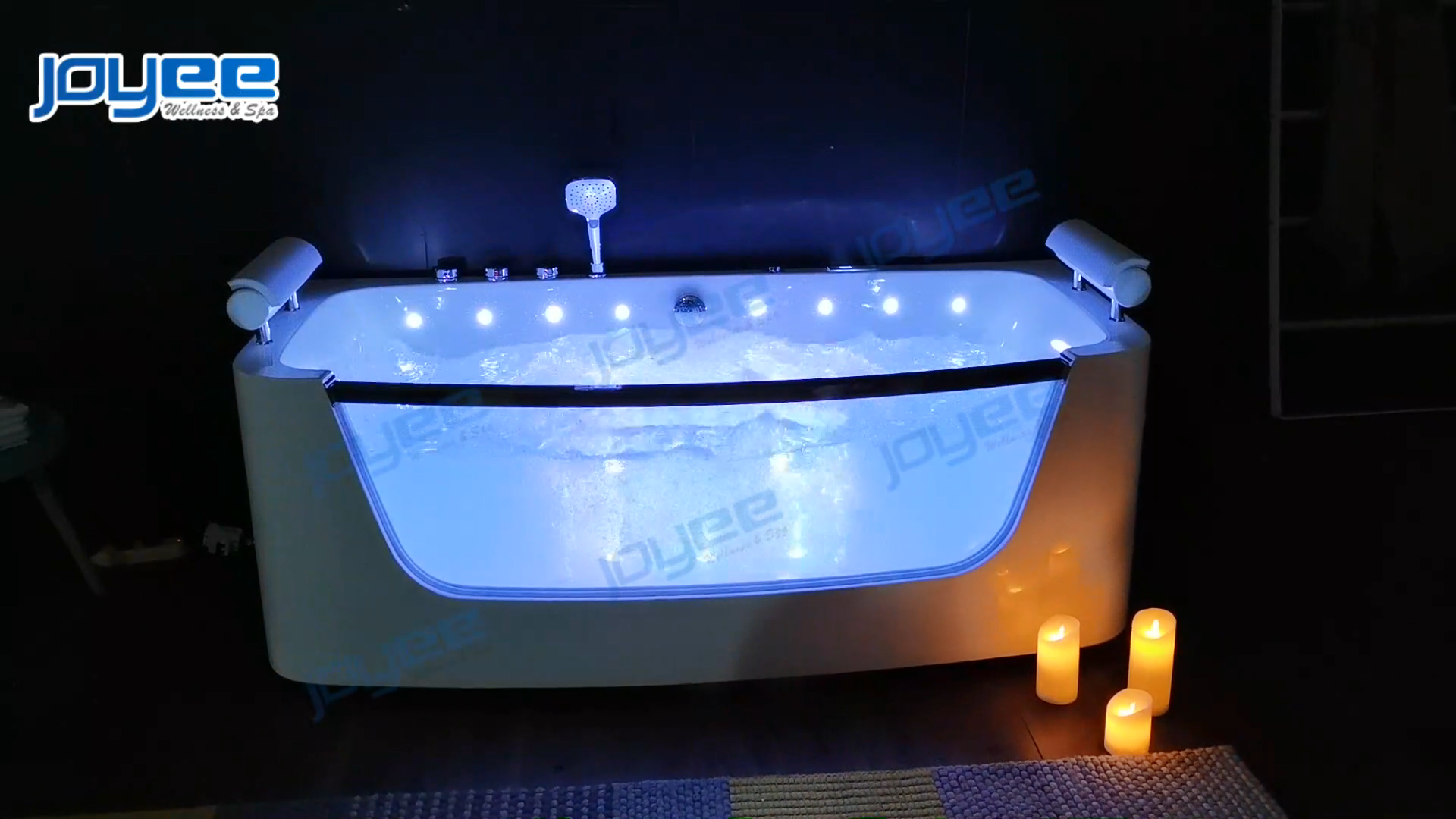 JOYEE New design indoor whirlpool bath tub acrylic massage bathtubs for 2 adults with pillow and led massage jets with glass