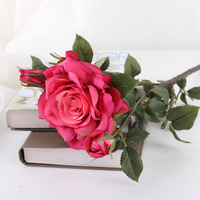 Gift Cheap Waterproof Peony Blossom Bunch Bouquet Weeding False Silk Rose Artificial Flower for decoration