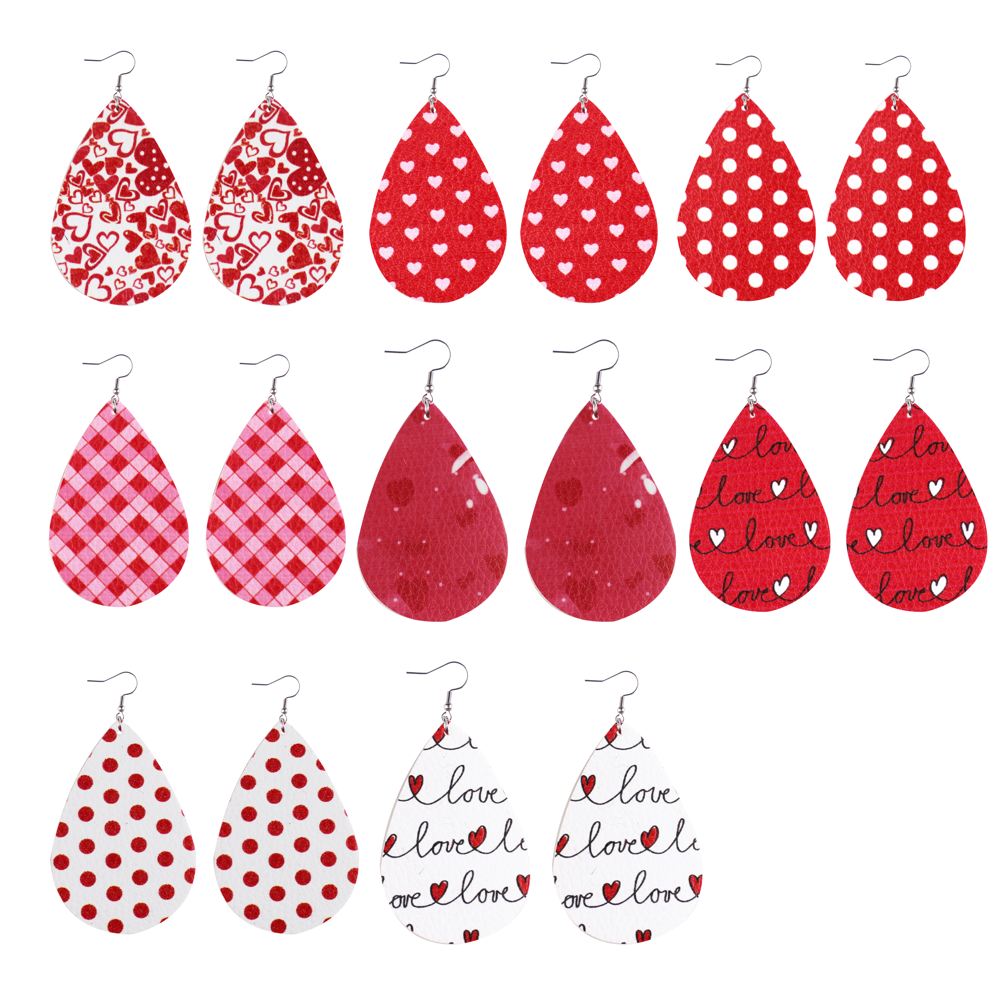 Fashion Lightweight Heart Pattern Love Teardrop Shape Leather Valentine's day Earrings