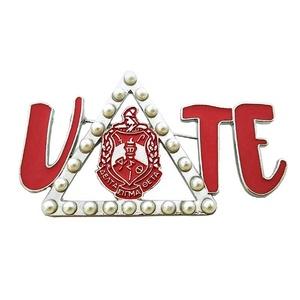 Greek Sorority AEO DST  Delta Sigma Theta shield Vote Pearl  Brooch Lapel Pin
