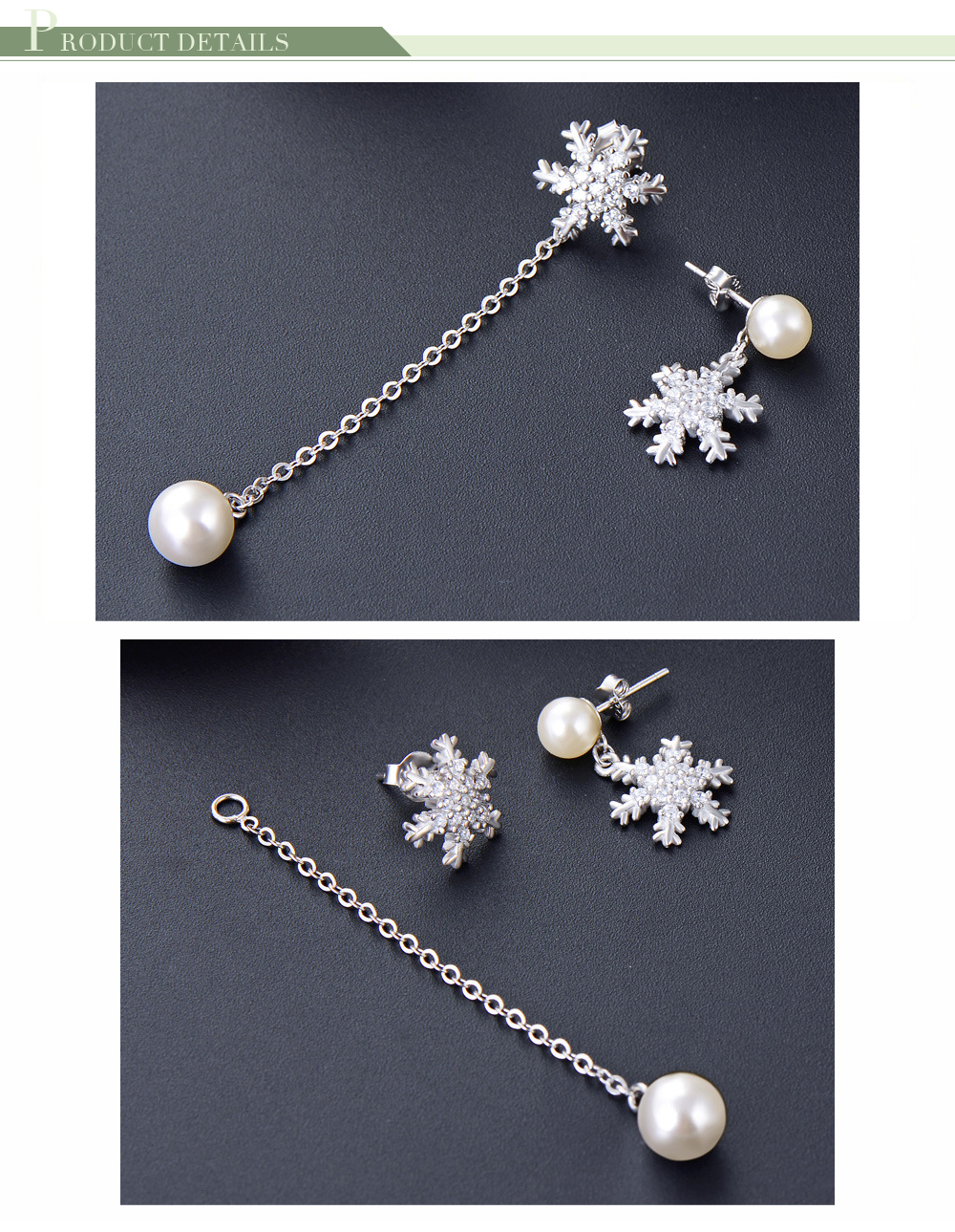 925 Sterling Silver Fashion Long Pearl Asymmetrical Earrings