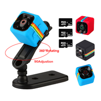 HD 1080P Wireless Security Hidden Camera Video Action Camera Night Vision Sport Black Card-in mini spy camera SQ11With Sd Card