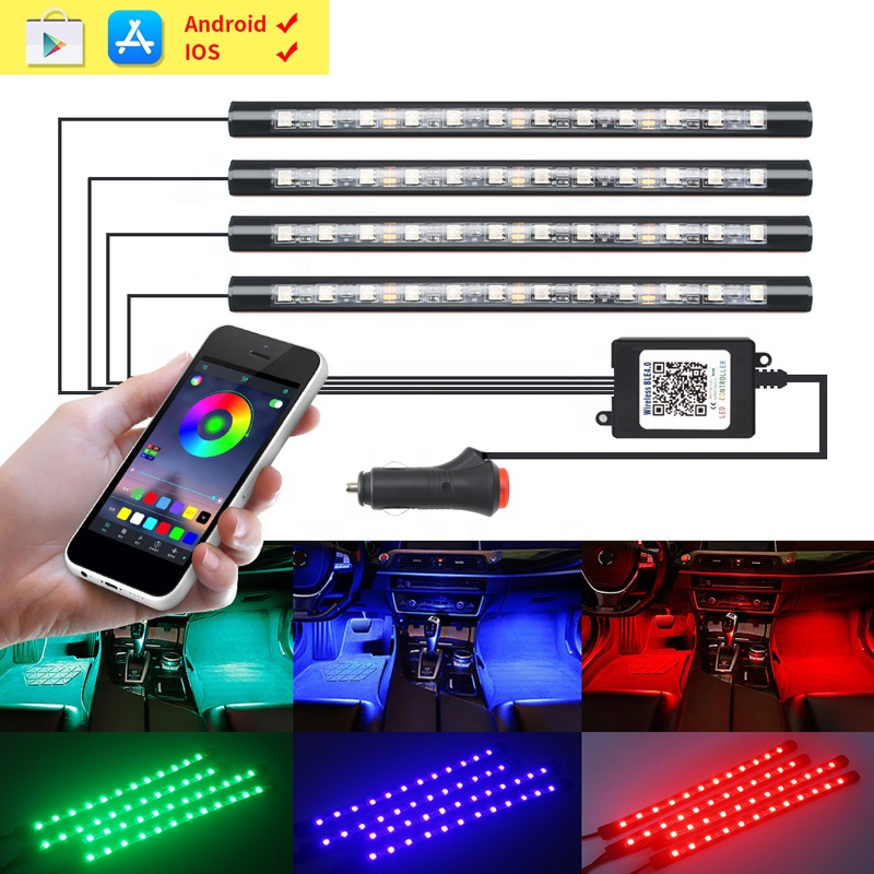 4PCS Car APP LED Strips Light Bars Total 48 LEDs RGB APP Remote Control Flash Interior DIY Decorated Auto Lamps