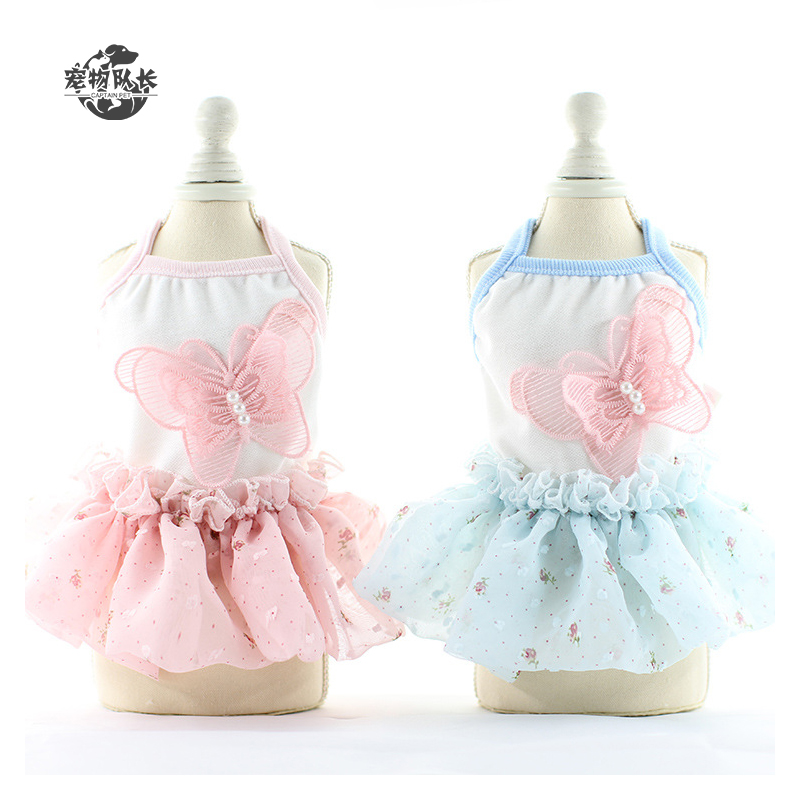 Nice Luxury Designers Small Pet Clothes Summer Butterfly Chiffon Dress Dog Clothes