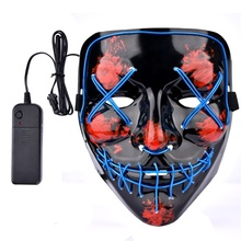 Halloween Party Scary LED Masken Karneval Rave Maskerade Licht up Luminous EL draht Neon Volle Gesicht Purge <span class=keywords><strong>Maske</strong></span>