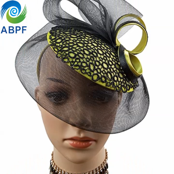 Aksesori Rambut Dasar Bulat Simpul Kupu-kupu Royal untuk Pesta Teh Wanita Pernikahan Sinamay Fascinator