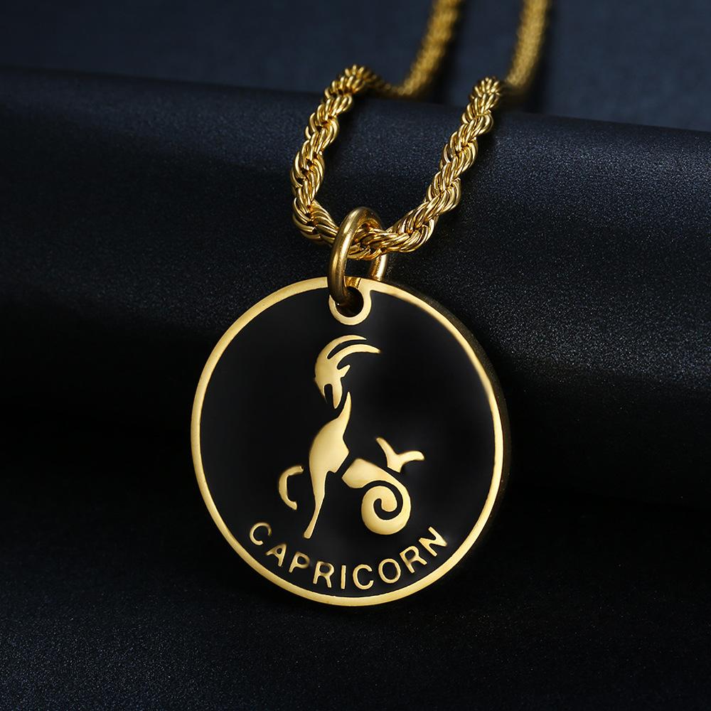 12 Zodiac Signe Constellations or Collier Pendentif Pour Femmes Hommes Mâle