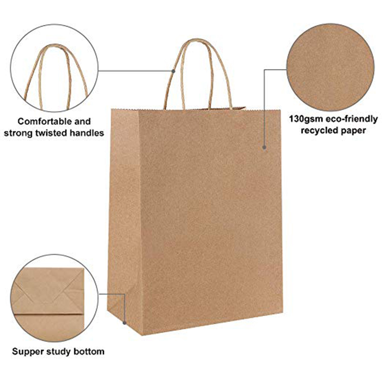 Custom Printed Cheap Recycled Gift White Handle Craft Fast Food Paper Tote Shopping Bag