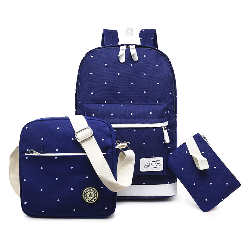 Dot muster 3pcs 3 in 1Durable beliebte Koreanische Kinder Teenager Rucksack Nette Schule Tasche Set Mädchen