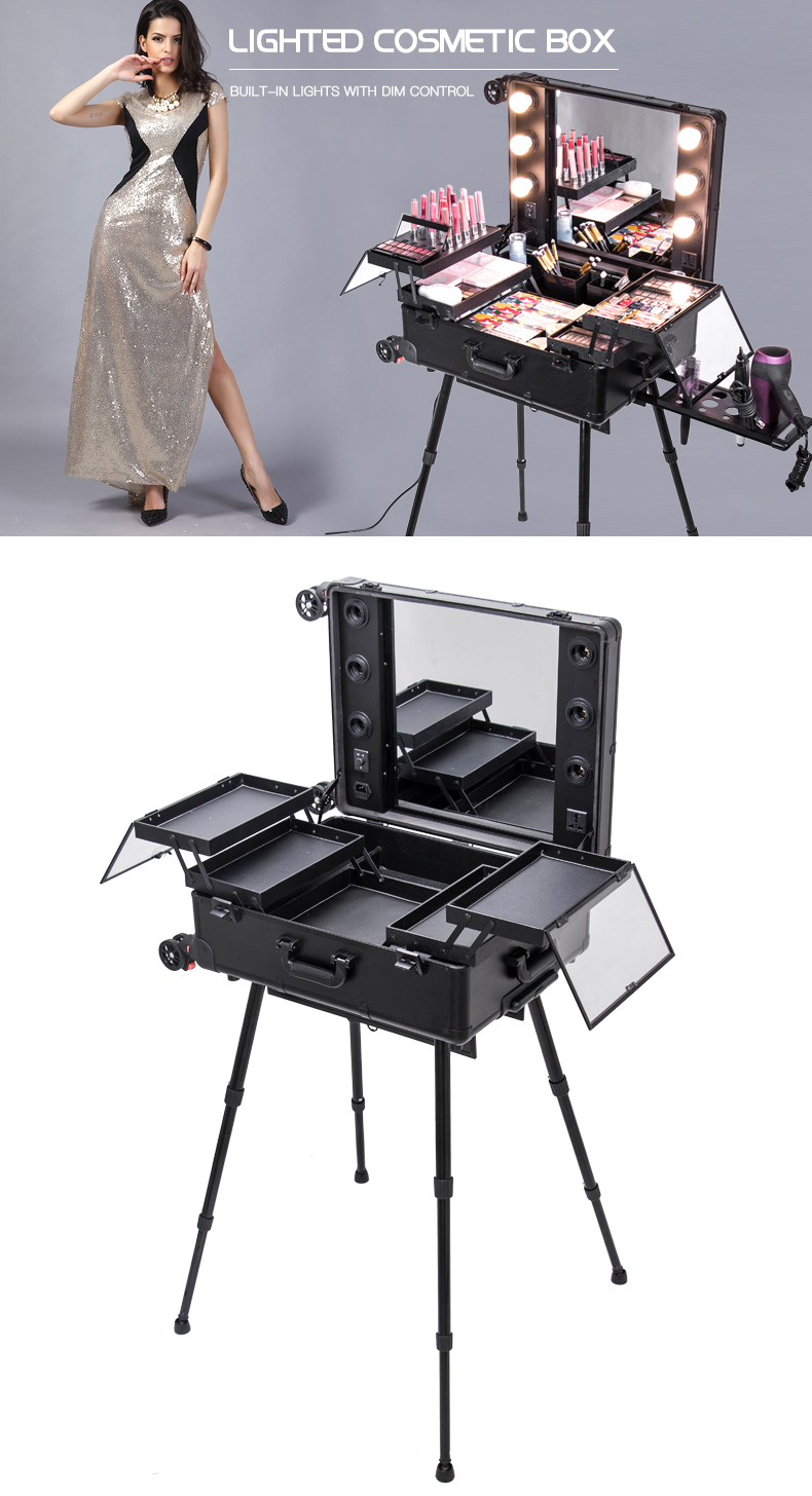 Best Quality Rolling Trolley Train Case with Lights & 4 Legs Cosmetic Working Station
