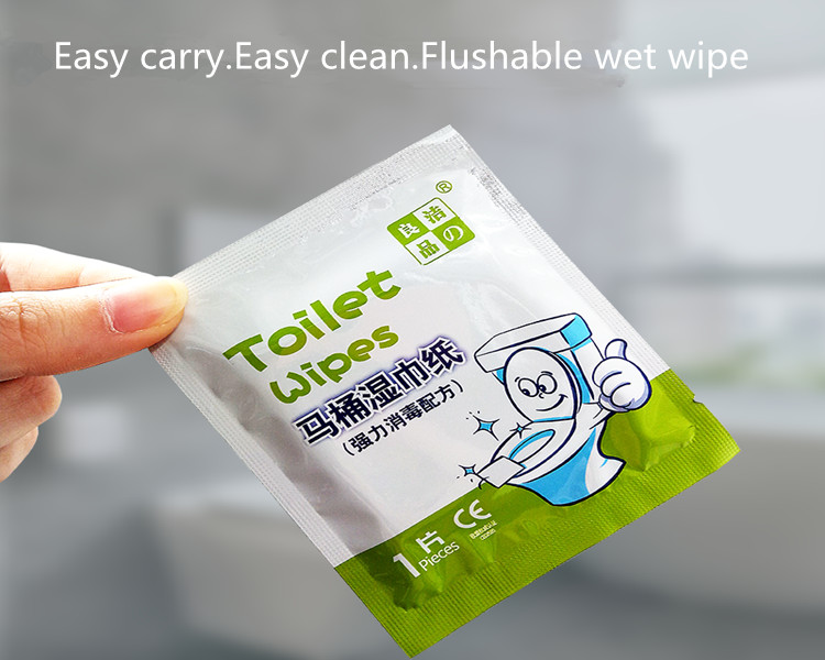 Single Packed Disinfecting Closestool Wet Flushable Cleaning Wipes