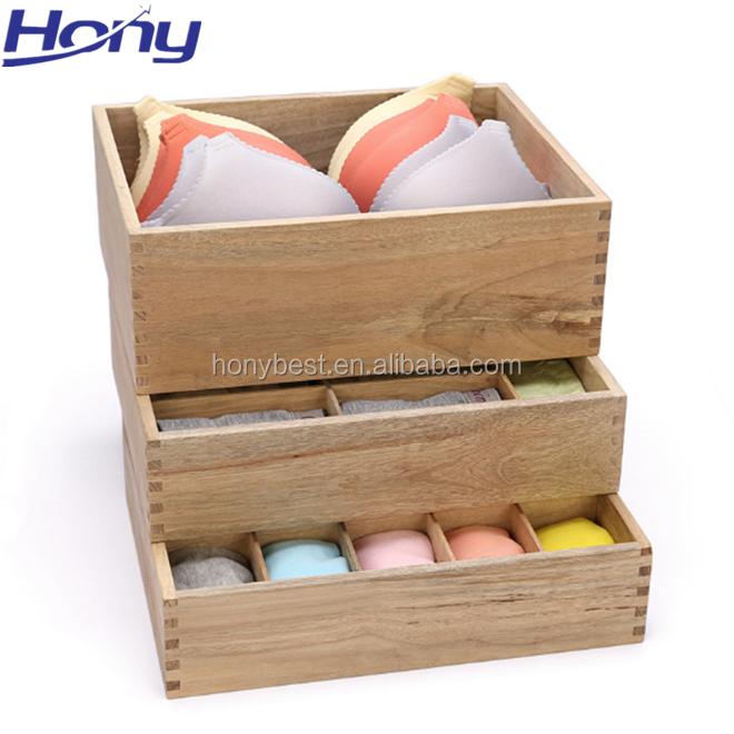 Твердая древесина таблетки, галстук, косметика, макияж нижнее белье Коробка органайзер для хранения с разделителями