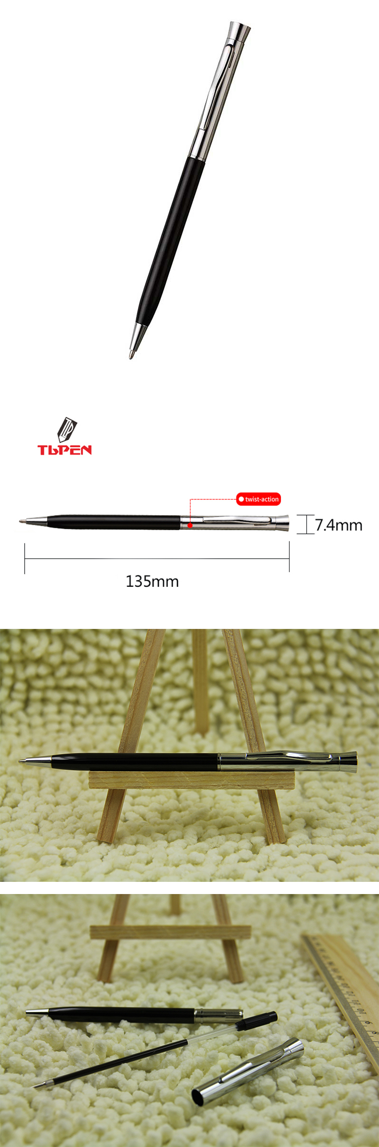 Copper and stainless steel pen bareel twist mechanism ball point pen with logo