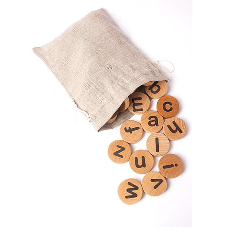몬테소리 알파벳 교육 대문자 및 소문자 편지 waldorf 게임 나무 장난감