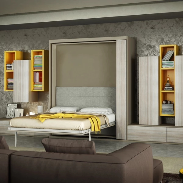 Vertical wallbed with rotation device for space saving Folding Hidden wall bed